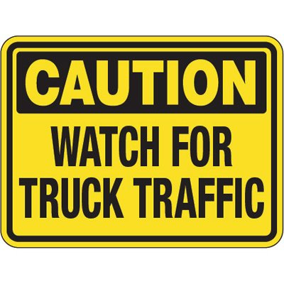 Pavement Message Signs - Caution Watch For Truck Traffic