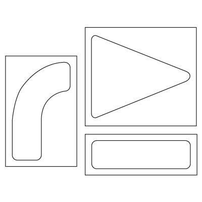 Pavement Tool Plastic Graphic Stencils - 3-piece Arrow Symbol Set S-4090 D