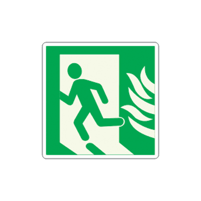 Man Running Left with Fire to Exit Graphic Glow-In-The-Dark Sign