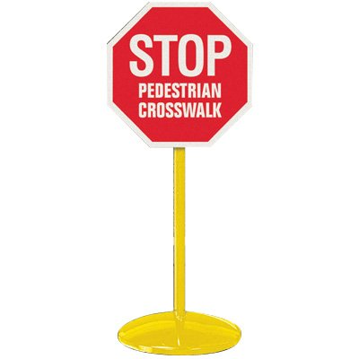 Portable Sign Stanchions - Pedestrian Stop Sign
