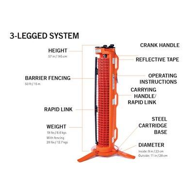 RapidRoll 3 Legged Portable Barrier - Base Cartridge
