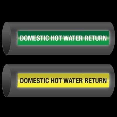 Reflective Opti-Code™ Self-Adhesive Pipe Markers - Dom. Hot Water Return