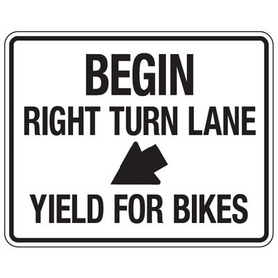 Reflective Traffic Reminder Signs - Begin Right Turn Lane