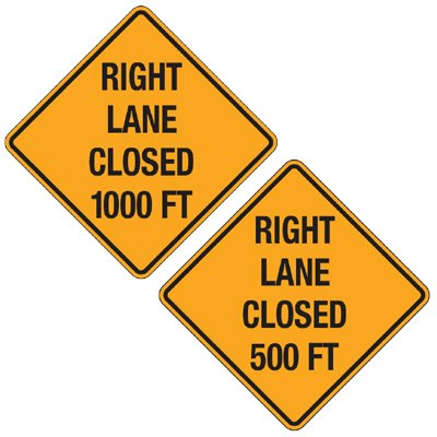 Reflective Warning Signs - Right Lane Closed