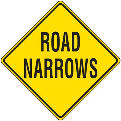 Reflective Warning Signs - Road Narrows