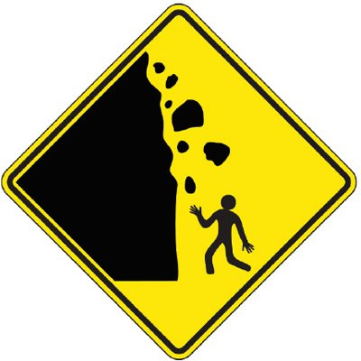 Reflective Warning Signs - Rockfall (Symbol)