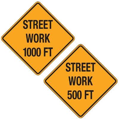 Reflective Warning Signs - Street Work