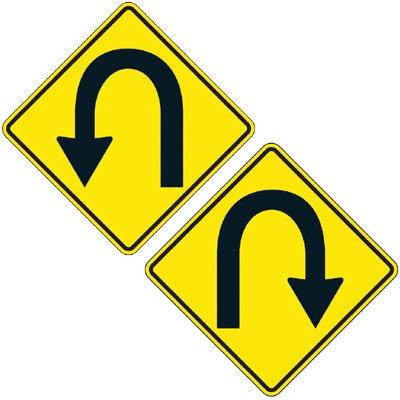 Reflective Warning Signs - U-Turn (Symbol)
