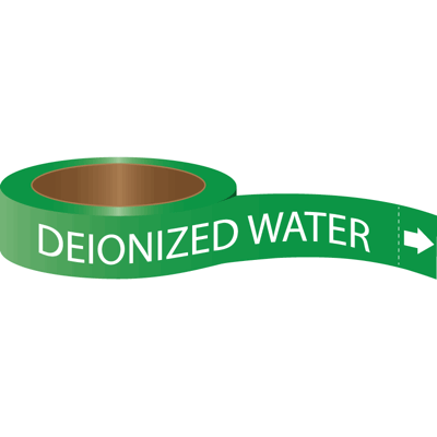 Roll Form Self-Adhesive Pipe Markers - Deionized Water