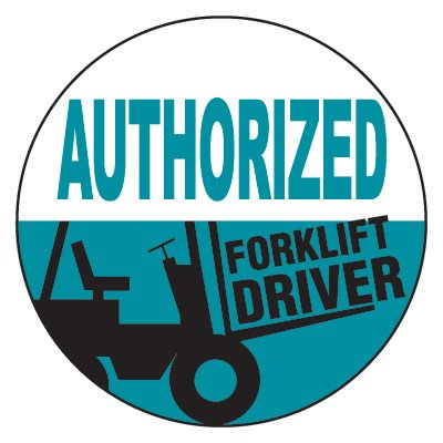 Safety Hard Hat Labels - Authorized Forklift Driver