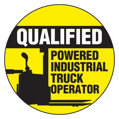 Safety Hard Hat Labels - Qualified Powered Industrial Truck Operator