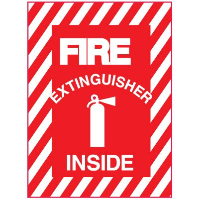 Adhesive Vinyl Fire Exit Signs - Fire Extinguisher Inside
