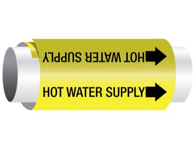 Setmark® Snap-Around Pipe Markers - Hot Water Supply