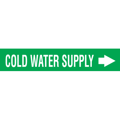 Seton Code™ Economy Self-Adhesive Pipe Markers - Cold Water Supply
