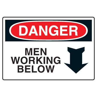 Site Safety Signs - Danger Men Working Below