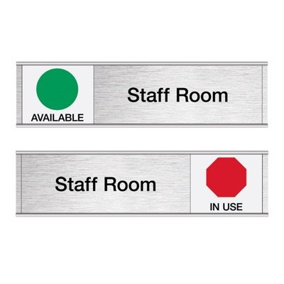 Staff Room-Available/In Use - Engraved Facility Sliders