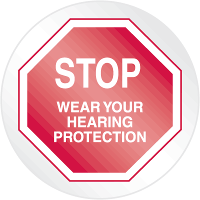 Stop Floor Markers - Wear Hearing Protection
