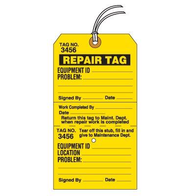 Tear-Off Jumbo Repair Tags