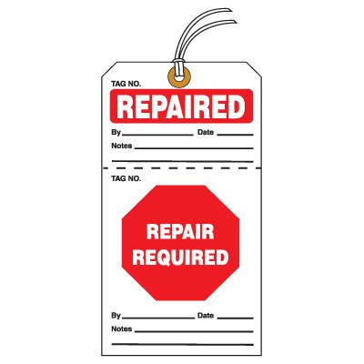 Tear-Off QC Action Tags - Repaired