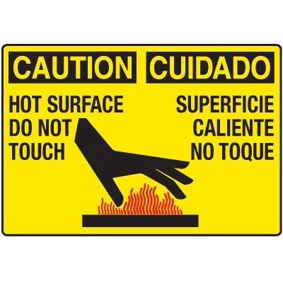 Temperature Warning Signs - Caution Hot Surface Do Not Touch (Bilingual)