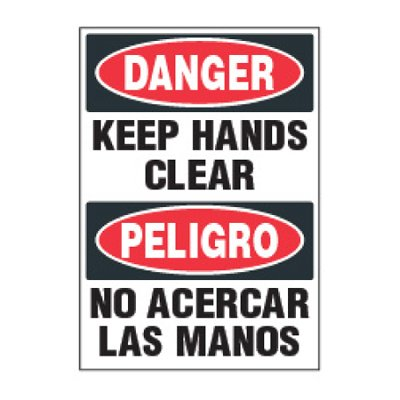 ToughWash® Labels - Bilingual Keep Hands Clear