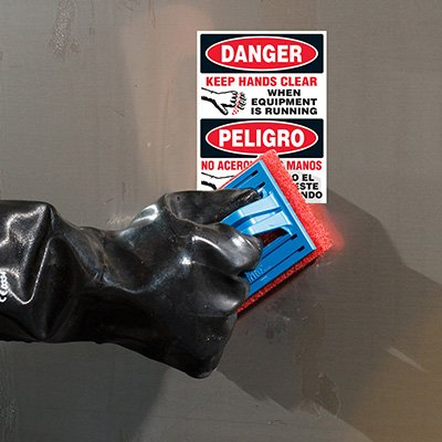 ToughWash® Labels - Danger Keep Hands Clear (Bilingual)
