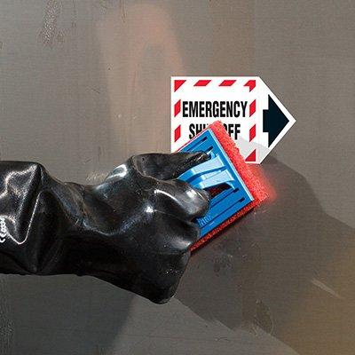 ToughWash® Labels - Emergency Shut-Off (With Arrow)