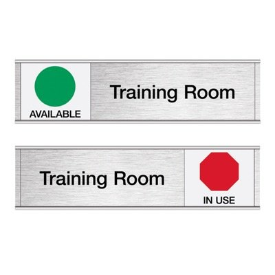 Training Room-Available/In Use - Engraved Facility Sliders