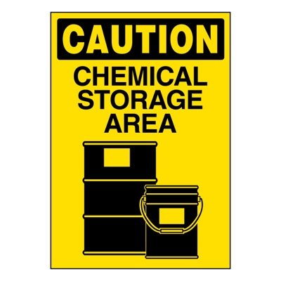 Ultra-Stick Signs - Caution Chemical Storage