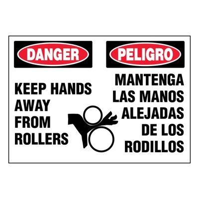 Ultra-Stick Signs - Danger Keep Hands Away (Bilingual)