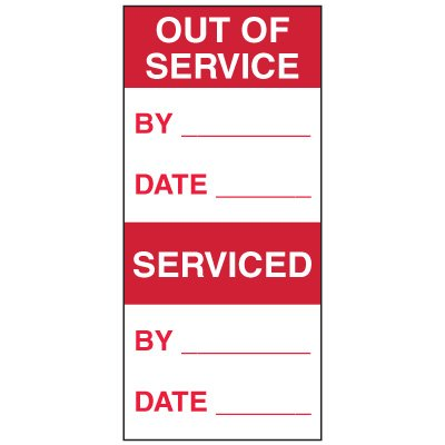Write-On Action Labels - Out Of Service