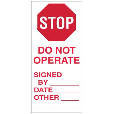 Write-On Action Labels - Stop Do Not Operate