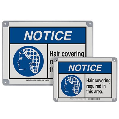 ToughWash® Encapsulated Signs - Notice Hair Covering Required