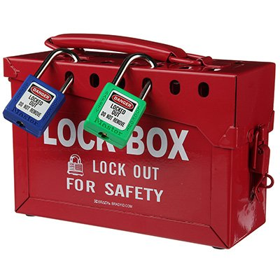 Portable Metal Lock Box - Red