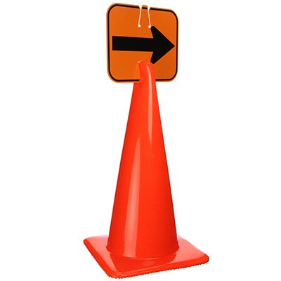 Plastic Traffic Cone Sign - Arrow