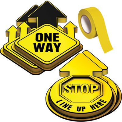 3D Social Distancing Label Kit for Hallways - Yellow