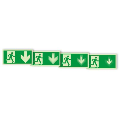 Seton Motion® Photoluminescent Running Man Escape Route Sign Exit Down