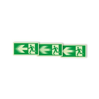 Seton Motion® Photoluminescent Running Man Escape Route Sign Exit Left