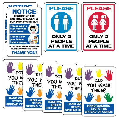 Social Distancing Signage Kit for Bathrooms
