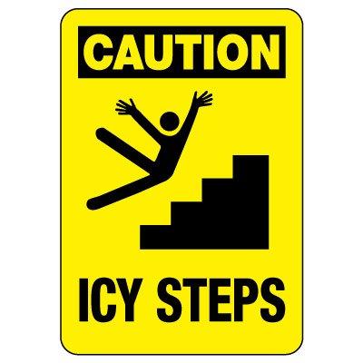 OSHA Caution Sign: Icy Steps