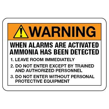 Warning Safety Sign: Ammonia Alarm Procedure