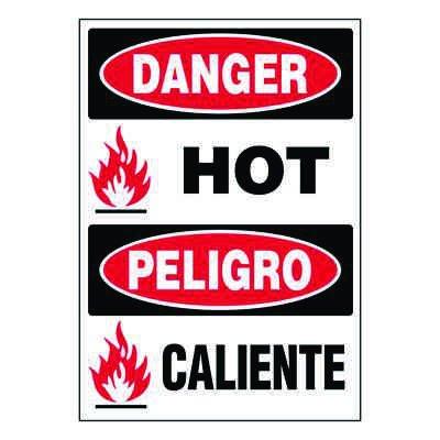 Ultra-Stick Signs - Danger Hot (Bilingual)