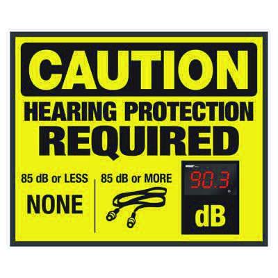 Decibel Meter Sign - Hearing Protection Required (Earplugs Symbol)