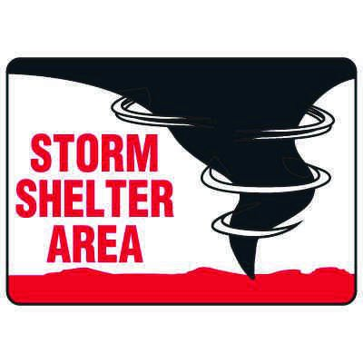 Evacuation & Shelter Signs - Storm Shelter Area