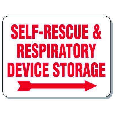 Giant Emergency & Evacuation Signs - Self-Rescue & Respiratory Device Storage