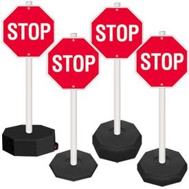 5 Ft. PVC Stanchion Systems - Stop Sign, Post and Base