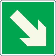 Downward Right Facing Arrow Glow-In-The-Dark Polished Exit Sign