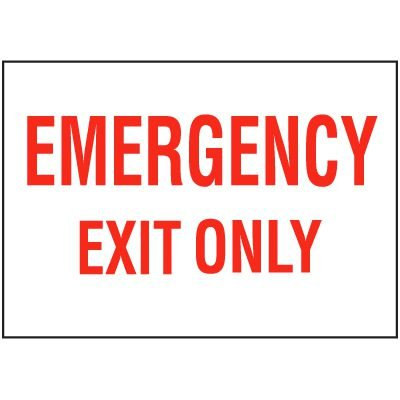 Emergency Exit Only Self-Adhesive Vinyl  Exit Signs