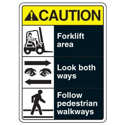 Caution Forklift Area ANSI Sign