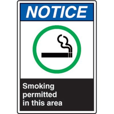 ANSI Safety Signs - Notice Smoking Permitted In This Area